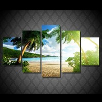 Canvas Prints Paintings Wall Art Posters 5 Pieces Beach Palm Tree Group Seascape Pictures For Living Room Home Decor no frame