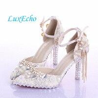 2014 Fashion Luxury Rhinestone Bow Ultra High Heels Shoes Women S Pearl Wedding Shoes Crystal Bridal