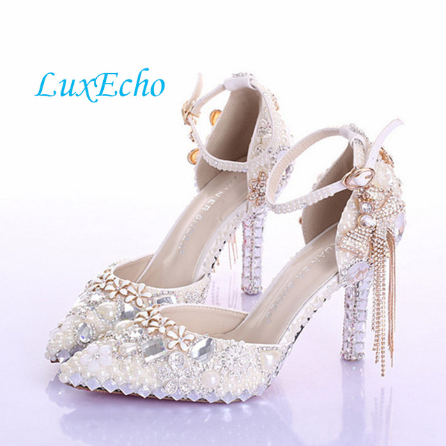 Fashion Luxury Rhinestone Bow Ultra High Heels Womens Pumps Single Shoes Crystal Bridal Summer Wedding Sandals