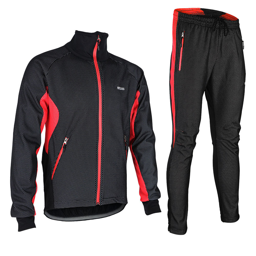 ФОТО ARSUXEO Winter ropa ciclismo maillot Warm Up Thermal Cycling Jacket set Bike Bicycle Jacket Pant Reflective Windproof Waterproof