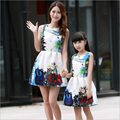 2016 Summer Madre E Hija Ropa Printing Mother Daughter Outfits Princess Mother Daughter Dresses Clothes