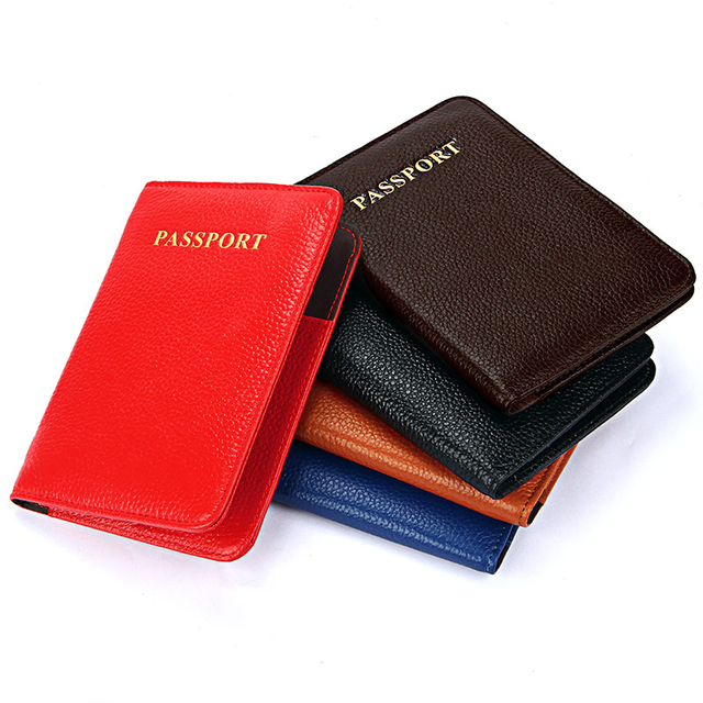 Fashion Men Genuine Leather Passport Cover Travel Passport Holder Bag Passport Case Wallet License Credit CardHolder Pouch