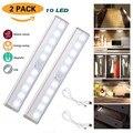 2 шт 10 светодиодная подсветка под шкаф с датчиком движения светильник USB Перезаряжаемый светильник для шкафа палка-на любом месте для шкафа ...