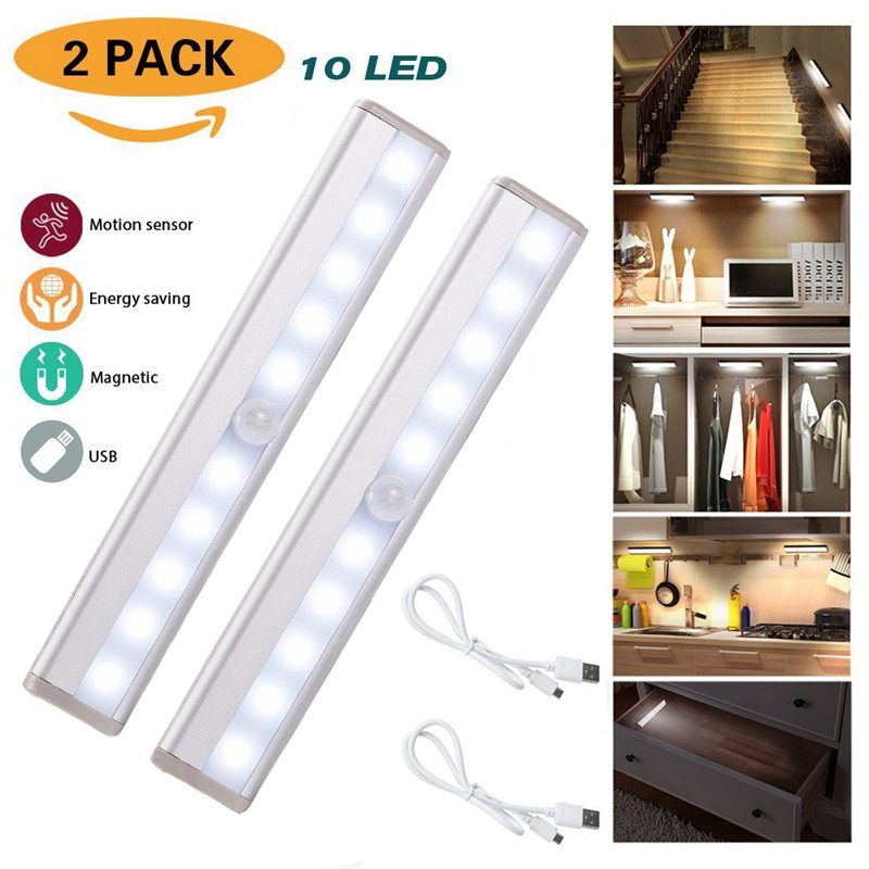 2PCS 10 LED Under Cabinet Light Motion Sensor Light USB Rechargeable Closet Light Stick-On Anywhere For Wardrobe Drawer Cupboard