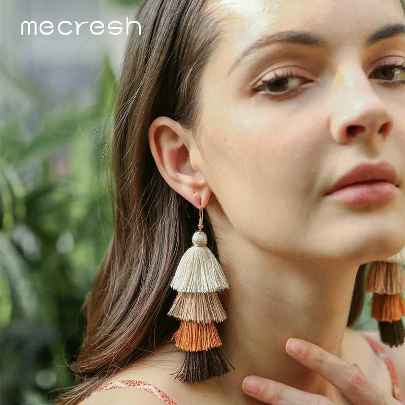 Mecresh Gradient Colorful Bohemian Long Tassel Earrings Women Fashion Jewelry Ethnic Vintage Fringe Summer Earrings 2019 MEH1347