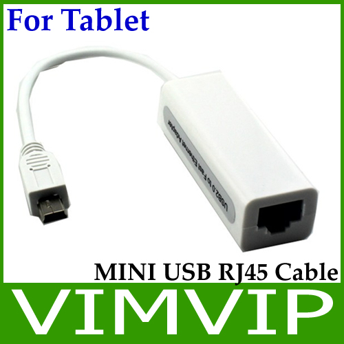 Mini USB Male to RJ45 Connector Female Cable Adapter for Tablets PC - White Free Shipping