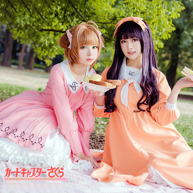 Anime Clamp Card Captor Sakura TOMOYO Cosplay Costume Picnic Outfits Girls Cute Dress Halloween Carnival Uniforms