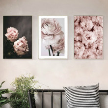 Modern Romantic Light Pink Peonies Flowers Canvas Paintings Gallery Posters Prints Wall Art Pictures Bedroom Interior Home Decor(China)