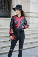2018 New Red Pattern Womens Sheep Leather Jackets Ladies Real Leather Slimming Coat Full Sleeve Streetwear LX00883