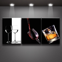 2017 Real New Paintings Cuadros 3 Panel Set Modern Wine Glass Painting Canvas Print Wall Art