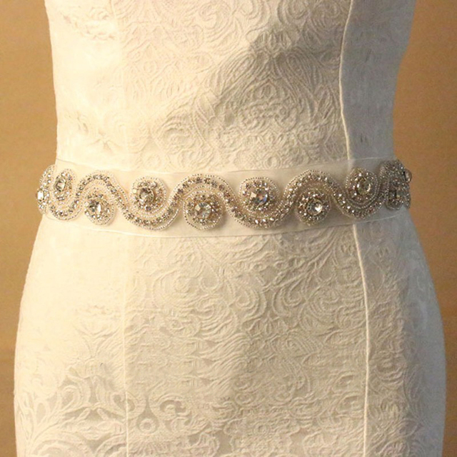 Fashion Detachable Handmade Belt Crystal Diamond Bridal Gown Satin/Organza Sash Wedding Dress Belts Wedding Accessories