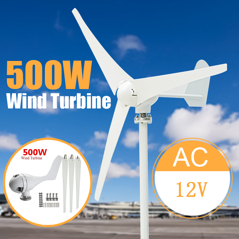 Max 500W Power 3 Blades Wind Turbine Generator Kit AC 12/24V Waterproof White