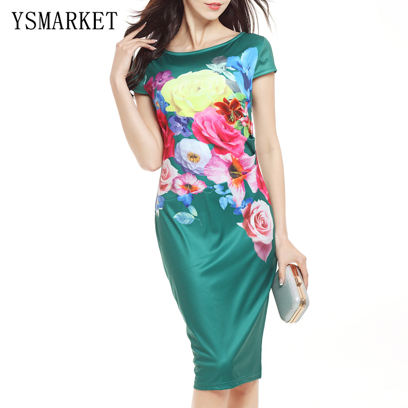 Emerald Green Brief Floral Print Mini Dress Casual Slim Elegant Workwear Office Pinup Women Celebrity Short Sleeve Dresses e749