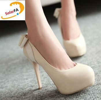 Fashion high heeled women's pumps shoes with bow extra high thin 12cm heels PR379 , 3cm platforms stable pink beige ladies pump simple cm 379