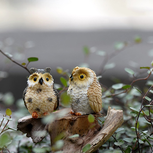 Landscape Owl Doll Resin Fairy Home Garden DIY Decor Micro Ornaments Decoration