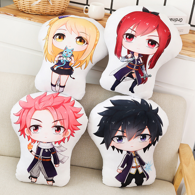 Anime Fairy Tail Pillow Toy Natsu Lucy Erza Gray Stuffed Plush Doll Double Sided Case Cosplay 45cm For Gift