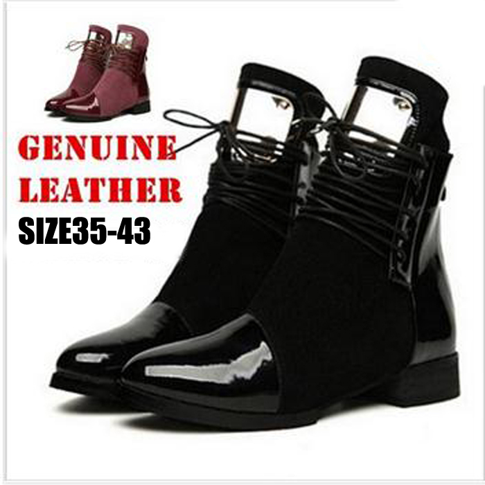 ФОТО Plus Size 35-43 Genuine Leather Women Boots Flat Heel Martin Ankle Boots Womens Motorcycle Boots Autumn Winter Women Shoes Botas
