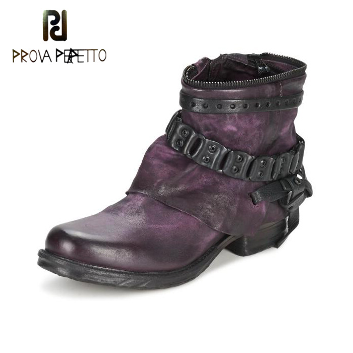 Prova Perfetto Genuine Leather Motorcycle Ankle Boots Women Chain and Buckle Decor Shoes Woman Flat Zipper Rivet Botas Mujer prova perfetto black handmade women genuine leather mid calf boots buckle straps martin boots women platform rubber shoes woman