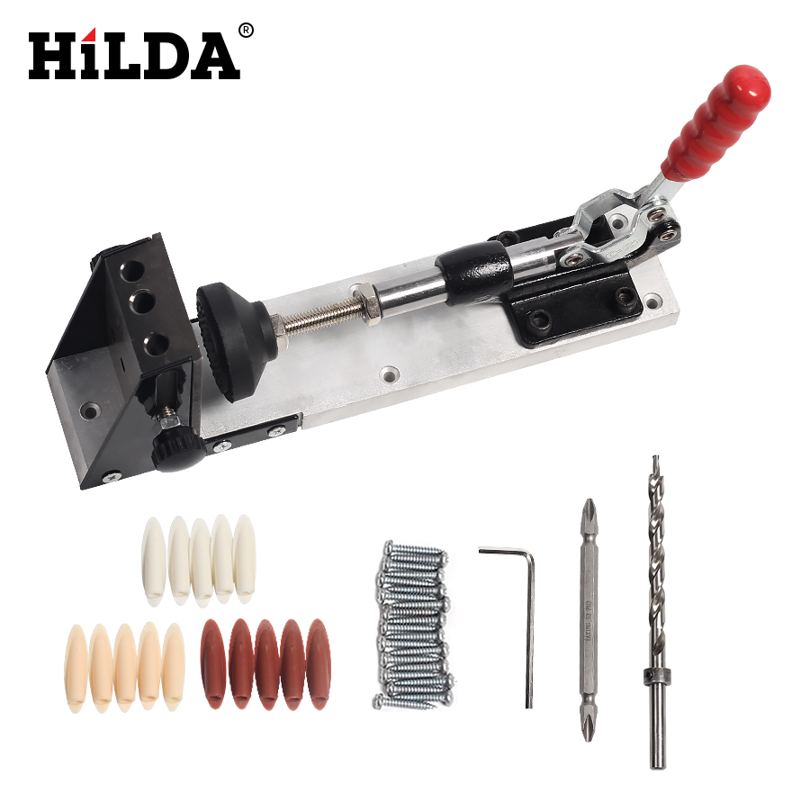 Woodworking Guide Carpenter Kit System,inclined hole drill tools,clamp base Drill Bit Kit System,Pocket Hole Jig Kit Hand tools new pocket hole jig drill guide hole positioner locator with clamp woodworking tool kit suitable for joining panel furniture