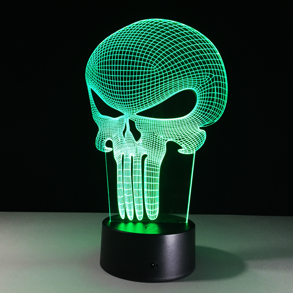 3D LED Farbwechsel Lampe Schädel bunten Licht Bulbing Acryl 3D ...