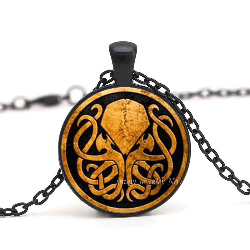 1Pcs Free Shipping American Cthulhu Pendant Necklace Handmade Bronze Copper Chain Long Vintage Necklace Women Jewelry