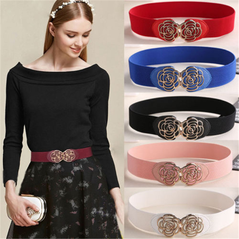2019 New Design Women Adjustable Waistband Vintage Metal Flower Elastic Blue Strap Stretch Buckle Waist Belt For Ladies Dress