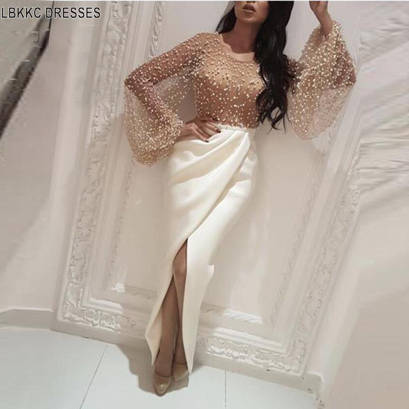 2019 Elegant Evening Dresses Long Sleeves Robe De Soiree With Slit Straight Pearls Saudi Arabic Women Formal Prom Evening Gown