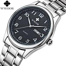 Relogio Masculino WWOOR מותג לוח שנה Mens קוורץ שעון גברים מקרית ספורט שעונים זכר שעון יוקרה נירוסטה שעון יד