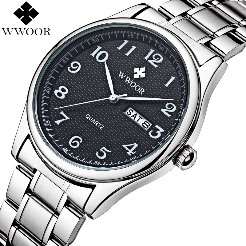 Prix pour Relogio masculino wwoor marque calendrier mens quartz montre hommes casual sport montres homme horloge de luxe en acier inoxydable montre-bracelet