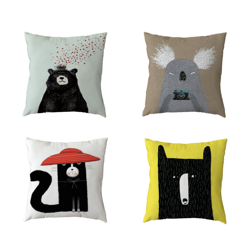 Cartoon White Throw Pillow Cases Water Tower Black Bear Koala Home Bedroom Sofa Living Room Children Decoration Cushion Cover