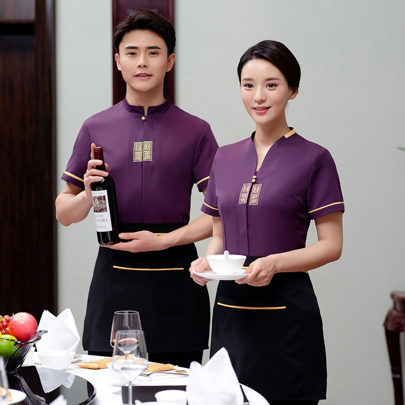 Short Sleeve Overalls Waitress Summer Plus Size Restaurants Hot Pot Fast Food Shop Uniform Jacket Cakes Shops Waiter Wear H2155