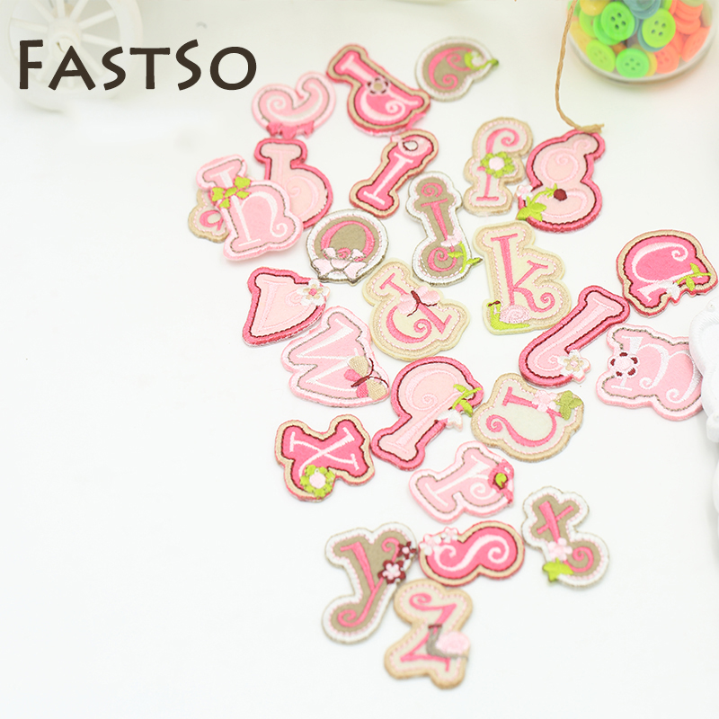 fastso 26pcslot alphabet letter cartoon fabric pink small clothes iron on patch for clothing