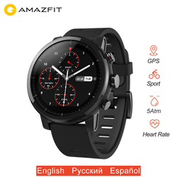 Original Xiaomi Amazfit Stratos 2 Smart Watch GPS Smartwatch Big Screen 5ATM Waterproof Multi-sport Mode PPG Heart Rate Monitor