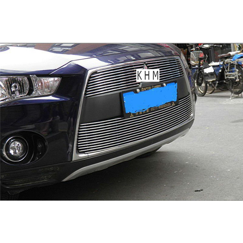 For 2010-2012 Mitsubishi Outlander   High quality Aluminium alloy Front Grille Around Trim Racing Grills Trim racing grills version aluminum alloy car styling refit grille air intake grid radiator grill for kla k5 2012 14