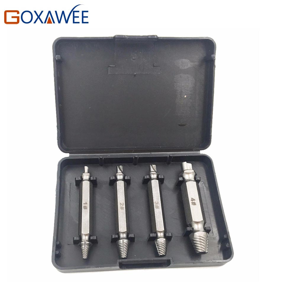 4Pcs/set Screw Extractor Drill Bits Guide Set Broken Damaged Bolt Remover Double Ended Damaged Screw Extractor Core Drill Bit  5pcs set screw extractor drill bits guide broken damaged bolt remover drop shipping sale