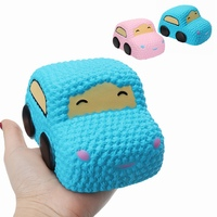New Arrival For Squishy Smiley Face Car Racer Cake Kawaii Soft Slow Rising Toy Scented Squeeze