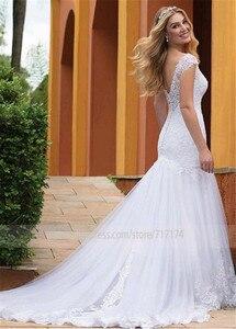 Image 2 - Prachtige Tule V hals Hals Mermaid Trouwjurken Met Kant Applicaties Slim Bridal Dress vestido de formatura