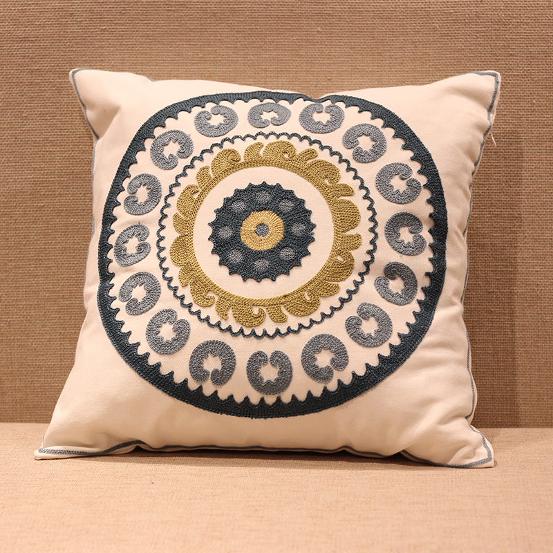Aliexpress New Fl Designs 100 Cotton Embroidery Sofa Cushion Covers White Trendy Thai Style Seat Cover Wedding Decoration From