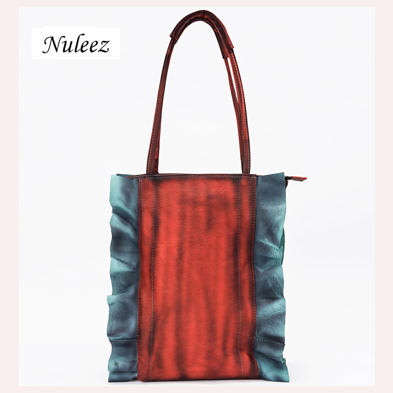 Nuleez women handbag for travel spring color soft cowhide hand painted beautiful special for travelling of