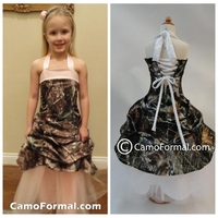 2020 Halter Camo Flower Girls Dresses Draped Skirt White Tulle Kids Formal Party Gowns Long Lace Up Back Real Tree Birthday Wear