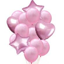 14pcs Multi Color Star Heart Helium Balloons Happy Birthday Party Decoration Confetti Ballons Wedding Anniversary Air Ball