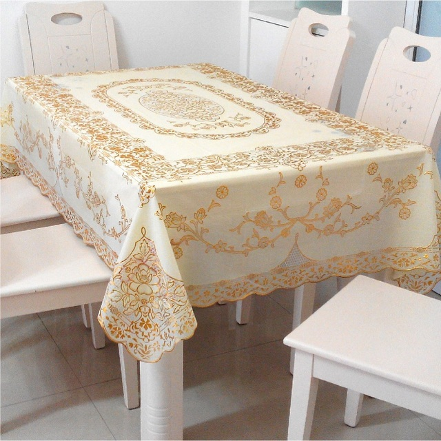 New Pvc Table Cloth Waterproof Disposable Plastic Tablecloth Lace European Soft Gl