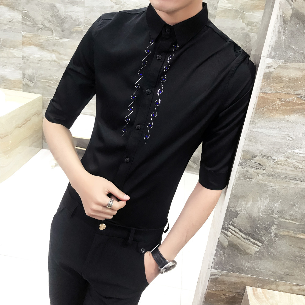 High Quality Tuxedo Shirt Summer Slim Fit Casual Solid Simple Mens