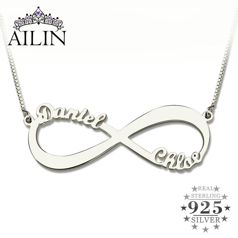 Venta al por mayor personalizada infinito collar dos nombre Collar de plata collar de la joyería del amante de San Valentín regalo del día