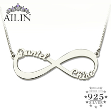 Wholesale Personalized Infinity Necklace Two Name Necklace Silver Lover Necklace Jewelry Valentine's Day Gift 5 Pieces/ lot personalized infinity necklace two name necklace silver infinity name necklace love has no end love jewelry christmas gift