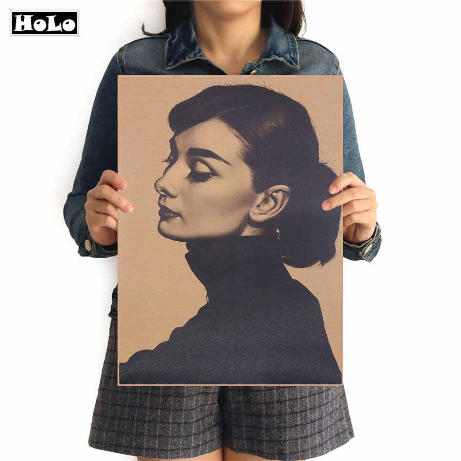 Retro Painting Audrey Hepburn movie star Classic Old Photo Vintage Kraft Paper Poster Retro Print Wall Sticker  FAD 42.5x30.5cm