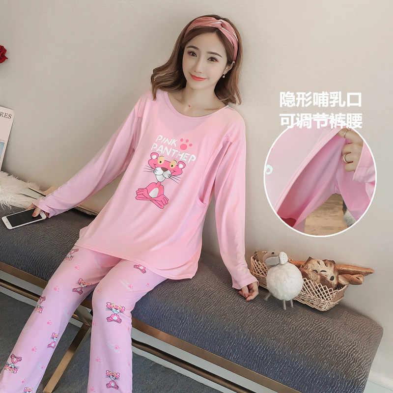 ... Maternity sets breastfeeding pajamas nightwear Pregnant woman nursing  sleepwear pregnancy cotton long sleeve clothes suit ... 9b2f59a28
