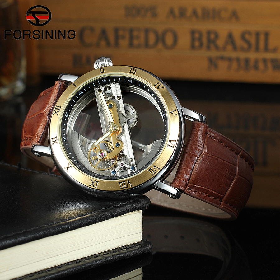 Forsining Top Brand Luxury Self Wind Automatic Mechanical Watches Men Rose Gold Case Genuine Leather Skeleton Watches relogio forsining 3d skeleton twisting design golden movement inside transparent case mens watches top brand luxury automatic watches