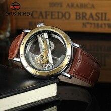 Forsining Auto-Viento Relojes Mecánicos Automáticos de Los Hombres de Primeras Marcas de Lujo Caja Oro Rosa Esqueleto de Cuero Genuino Relojes relogio