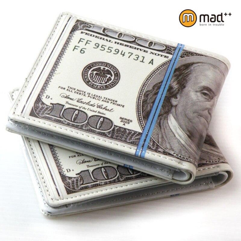 Bonito bifold 100 USD dólar EUA dinheiro carteira bolsa presente da novidade adolescentes estudante do sexo masculino das mulheres dos homens senhora moeda caso bolsa de couro PU nova